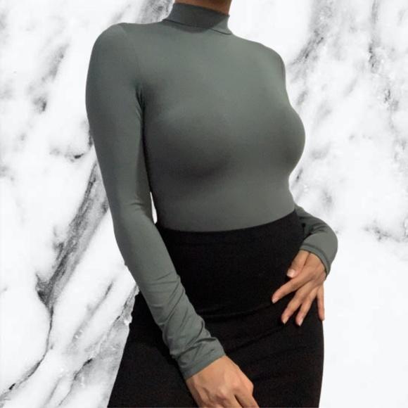 Mendocino Grey Mock Neck Bodysuit